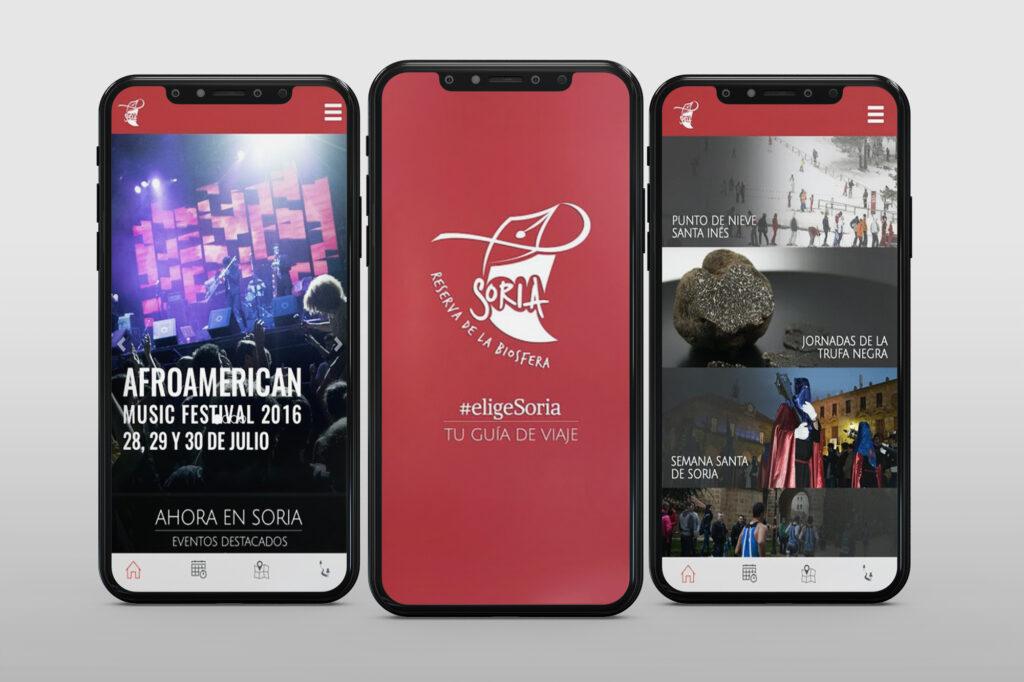 Imágenes de la aplicación móvil de Elige Soria