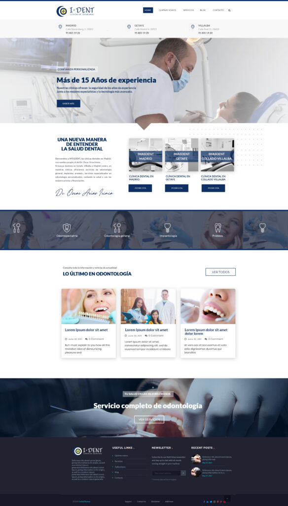 Diseño de página web para las clínicas detales en Madrid, Getafe y Villalba Imasdent